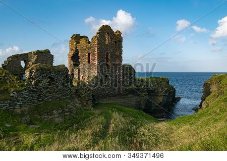 Wick, Scotland - September 15, 2019: Ruins Of The Castle Sinclair Girnigoe, Near Wick, In The North
