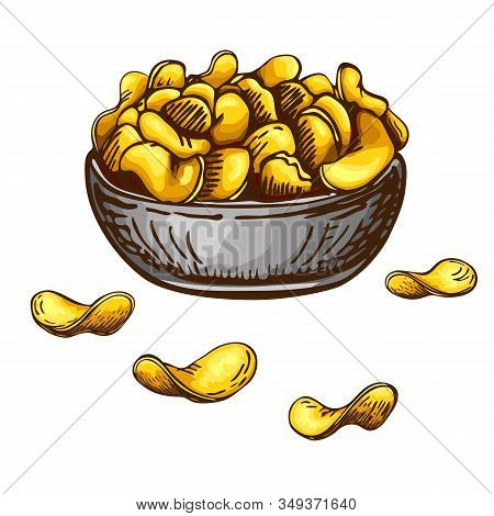Hand Drawn Fresh Fried Heap Of Potato Chips In Bowl Isolated On White Background. Vector Engraved Sk