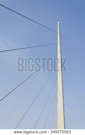Detail Of Puente De La Mujer, Woman's Bridge, In Puerto Madero, Buenos Aires