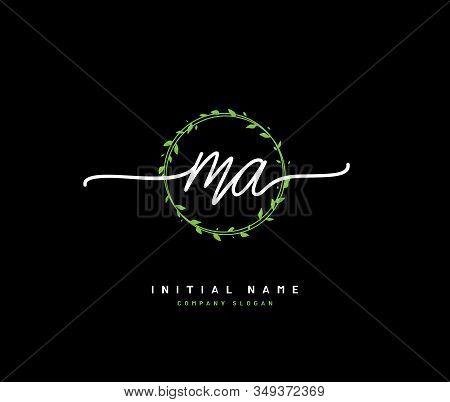 M A Ma Beauty Vector Initial Logo, Handwriting Logo Of Initial Signature, Wedding, Fashion, Jewerly,