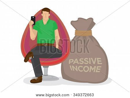 Young Man Working At Home Office With A Giant Sack Of Passive Income. Concept Of Online Merchant, En