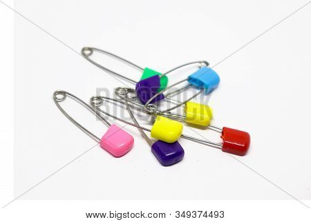 Colorful Safety Pin Isolated On White Background