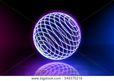 Neon Color Geometric Circle Sphere On A Dark Background. Sphere Structure, Luminous Line, Neon Sign.