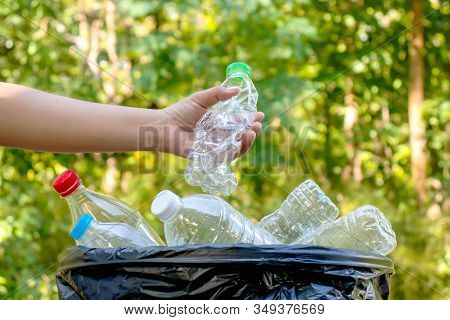 Collecting Plastic Bottles And Glass Bottles For Reuse. Waste Recycling Concept.