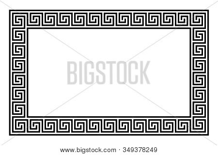 Rectangle Framed Disconnected Meander Pattern Made Of Seamless Meanders. Meandros. Decorative Border