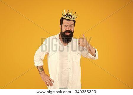 Reward Concept. Brutal Guy Prince Yellow Background. King Of Party. Egoist Selfish Man. Superstar Co