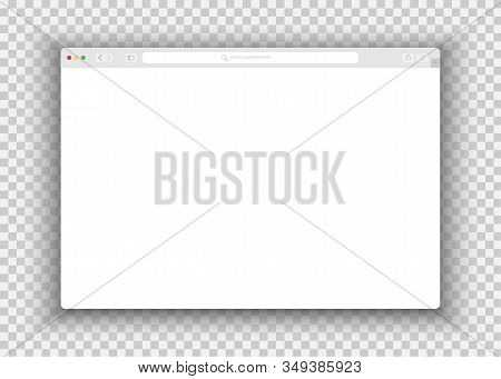 Web Simple Browser Window White, Transparent Background, Flat. Simple Browser Window, Flat Vector. B