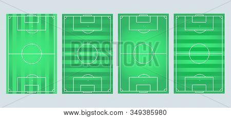 Soccer Field Collection.soccer, European Football Field In Different Point. Soccer Green Field For G