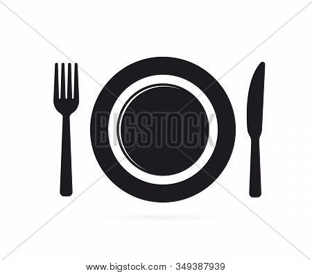 Cutlery. Plate Fork And Knife Vector Silhouette. Kitchen Icon Of Dish, Fork And Knife.