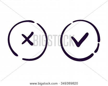 Ok And Cancel Icon Vector Web Button