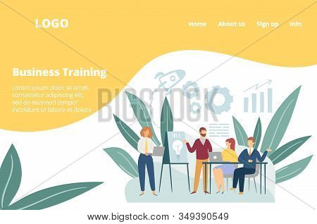 Workshop In Business Training Of Office Staff, Team Meeting Work Vector Illustration. Increase Sales