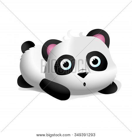 Baby Cute Panda Repose. Illustration And Vector