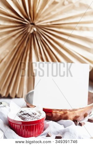 Chocolate Muffins In Red Cups. Mockup White Paper Copyspace. Small Glazed Ceramic Ramekin With Brown