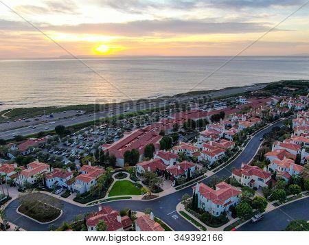 Crystal Cove Neighborhood Community In The Newport Coast Before Sunset. Luxury Big Villa With Pool O