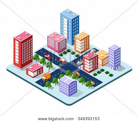 Colorful 3d Isometric City Of Houses And Street Of The
