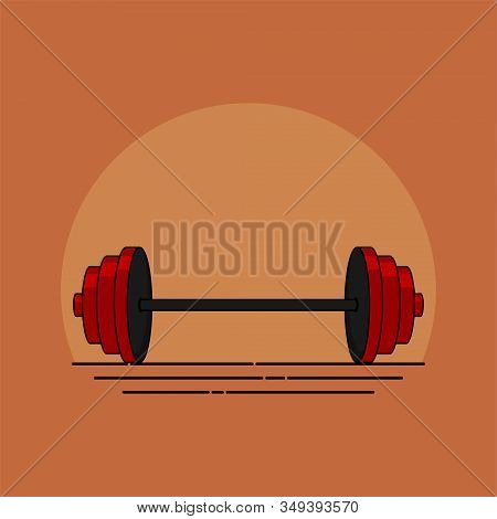 Barbell Weightlifting Vector Illustration For Template Design, Barbell Weightlifting Background