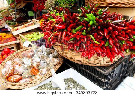 Chillies, Red Chilli Pepper, On The Traditional Italian Fruit, Vegetable And Spice Market In Gallipo
