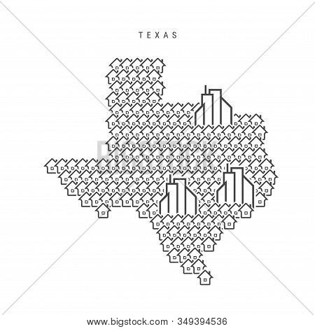 Texas Real Estate Property Map. Icons Of Houses In The Shape Of A Map Of Texas. Creative Concept For