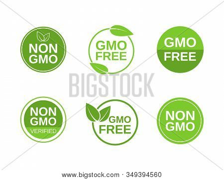 Non Gmo Label Set. Gmo Free Icons. No Gmo Design Elements For Tags, Product Packag, Food Symbol, Emb