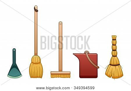 Cartoon Isolated Broom Stick, Bucket, Mop, Besom And Dustpan For Cleaning On White Background