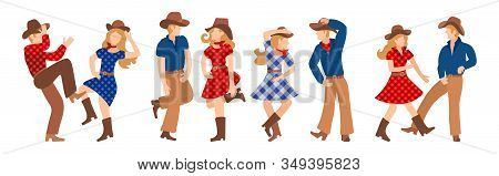 Vector Illustration Of A Group Of Cowboys And Cowgirls In Western Country Dancing A Line Of Dance. C