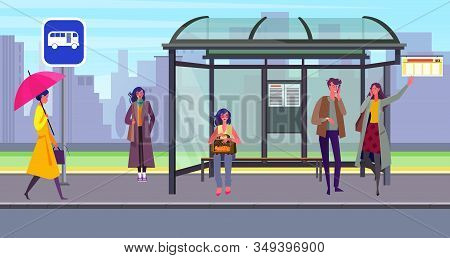 Passengers Waiting Transport At Bus Stop. Station, People, Shelter, Road Sign Flat Vector Illustrati