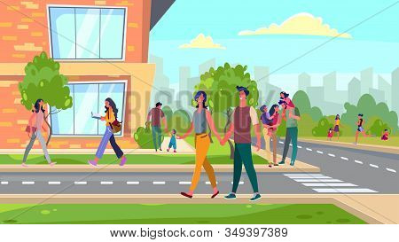 Citizens Walking In Suburb Area. Families, Young Couples Spending Leisure Time Outside Flat Vector I