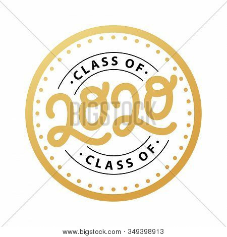 Graduate 2020. Class Of 2020. Lettering Logo Stamp. Graduate Design Yearbook. Vector Illustration.