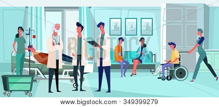 Doctors Working With Patients In Hospital Interior. Nurses, Transfusion, Broken Bones Flat Vector Il