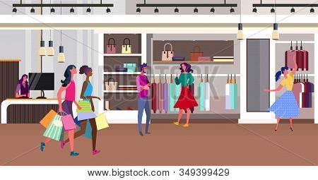 Girls Shopping In Fashion Store. Customers, Boutique, Clothing Shop Flat Vector Illustration. Outlet