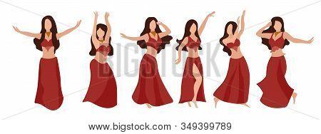 Vector Set Of Beautiful Brunette Girls Dancing Oriental Belly Dance. Sexy Woman In A Red Dress. Body