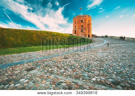 Vilnius, Lithuania. Cobblestone Road To Famous Tower Of Gediminas Or Gedimino In Historic Center. Un