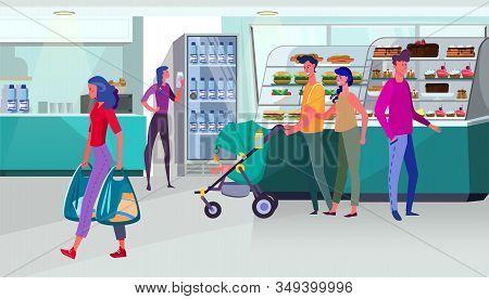 People Walking On Food Court. Customers, Confection, Kiosks, Showcase Flat Vector Illustration. Eati