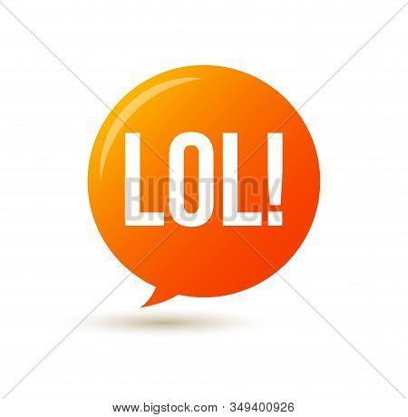 Lol Text Speech Label Icon. Pop Vector Tag Comic Background Design