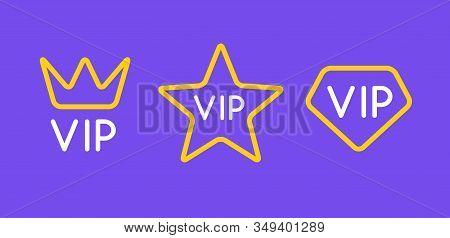 Vip Line Icon Flat Exclusive Important Membership Badge Crown. Vip Icon Member Club