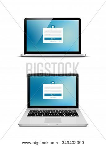 Laptop Login Password On Lock Screen. Computer Security Protection Login User Concept Form