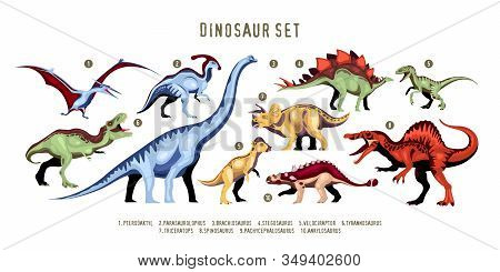 Dinosaur Colorful Ten Characters Of Extinct Predator Of Jurassic Period With Designation Isolated Ve