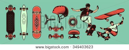 Skateboarding Color Hand Drawn Set With Teens Riding Skateboard And Different Kinds Of Sport Equipme