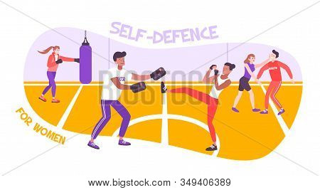 Self Defense Woman Flat Composition With Text And Indoor Playground With Women Practicing Vector Ill