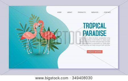 Tropical Paradise Web Banner Or Vector Template Illustration. Pink Flamigo Birds In Exotic Nature Wi