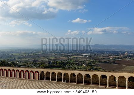 The Town Of Assisi As Seen From The Basilica In Italy