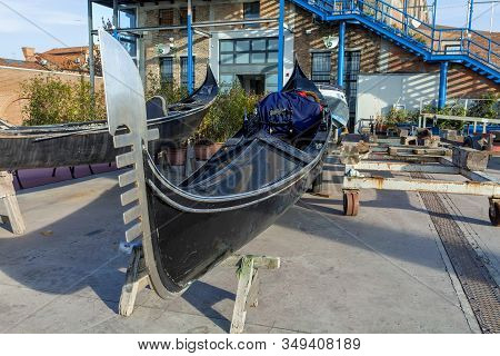 A Gondola In Dry Dock On The Island Of Giudecca