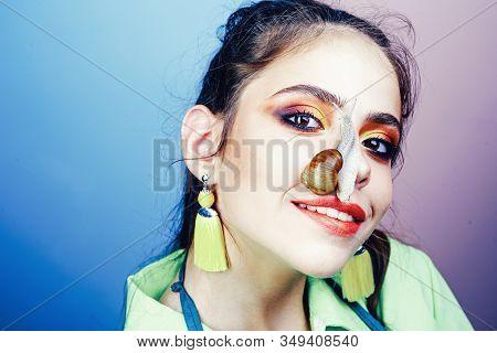 Healing Mucus. Having Fun With Adorable Snail. Cosmetics And Snail Mucus. Cosmetology Beauty Procedu