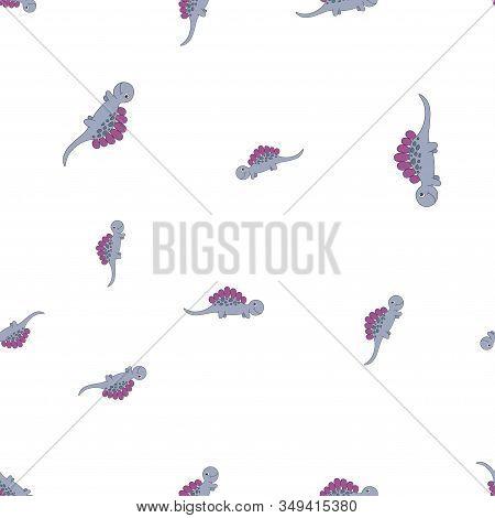 Seamless Pattern Of Dinosaurus Stegosaurus. Purple Dinosaurs Isolated On White Background. Vector Il
