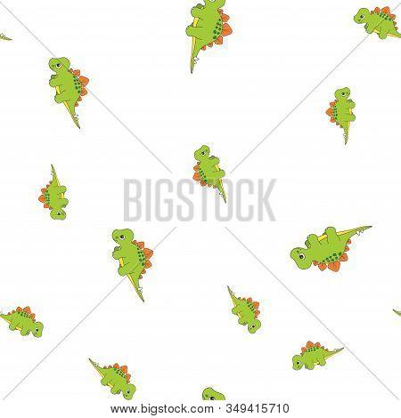 Seamless Pattern Of Dinosaurus Stegosaurus. Green Dinosaurs Isolated On White Background. Vector Ill