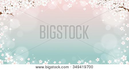 Vector Summer Nature Background With Cute Tiny Sakura On Blue Pastel Background, Spring Background W