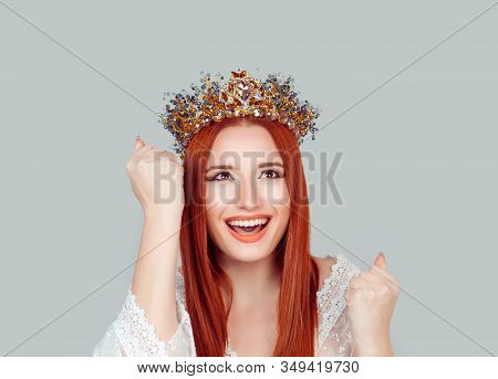Happy Beauty Queen Woman Exults Pumping Fists Ecstatic Celebrates Success Pretty Woman Winner Lookin