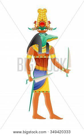 Sobek Egyptian God, Nile Crocodile Deity. Ancient Egyptian God Of Pharaonic Power, Fertility, Milita
