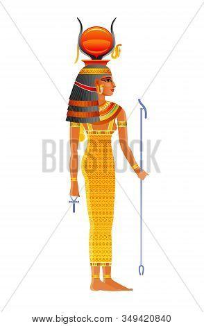 Hathor Egyptian Goddess, Sky Deity With Sun, Cow Horns. Ancient Egyptian God Of Music, Dance, Joy, S