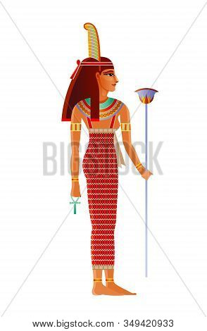Maat Egyptian Goddess, Deity With Ostrich Feather. Ancient Egyptian God Of Truth, Balance, Order, Ha